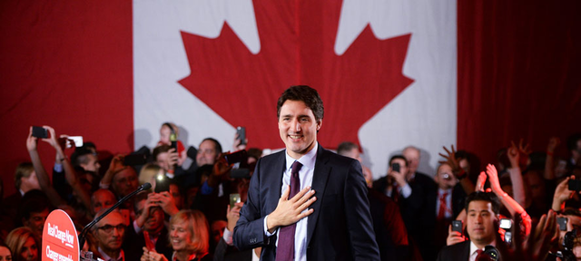 Liberal Justin Trudeau led his party to victory in Canada's federal elections on Monday. PHOTO: SEAN KILPATRICK/AP PHOTO.