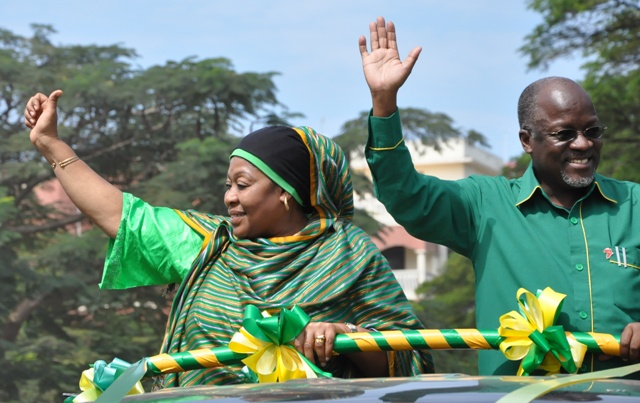CCM presidential candidate John Magufuli and his running mate, Samia Hassan Suluhu. Photo: Courtesy Lukwangule.blogspot.com