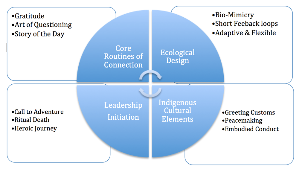 These are four aspects of the connected leadership knowledge and experience body of work.  The lower quadrants are internal components, while the upper half are external components.  The left side is Individual applications and on the right, organizational applications.  The wheel at the center indicates the internal informing the external and the external informing the internal dynamics of individual and organizational levels of culture.  In the four boxes are examples of each quadrant.