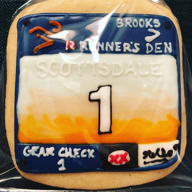 Our holiday party was made complete with cookies that look like race bibs 😍 #scottsdalehalfmarathon #scottsdale5k