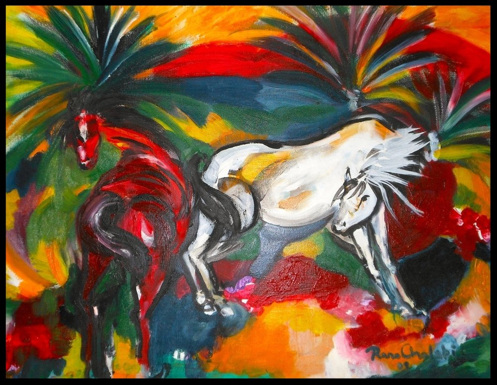 Horses Prancing With Palms