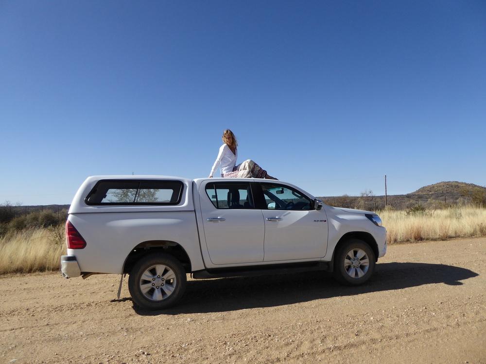 Unser supertoller Toyota, der uns heil über Sand- und Steinstraßen kutschiert hat.