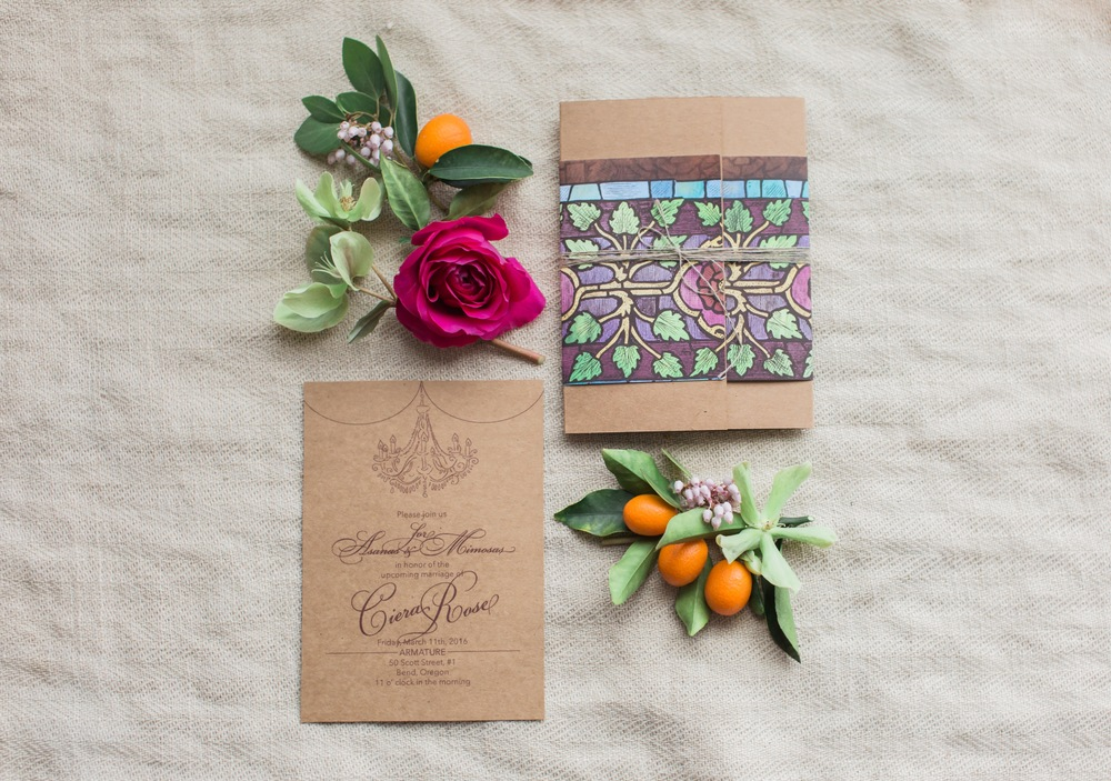 An invitation is a guest's first exposure to an event.  This beautiful suite by Kristin Buwalda of Chalked Creative reflects exactly the esthetic and vibe of this whole shoot.  Wouldn't you want to attend an event if this was the invitation you received?