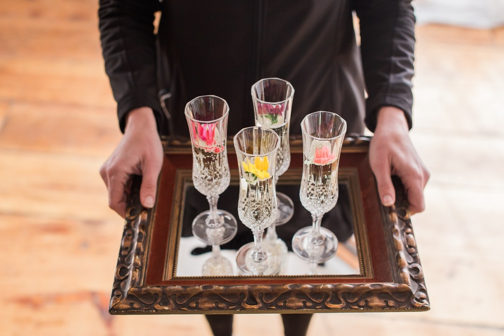 Champagne with edible flowers for color.  Don't you love this?!  Twist really thinks for the details.