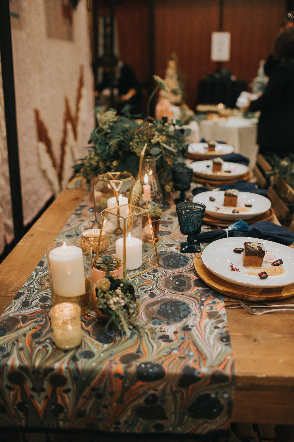 Our central tablescape with a little bit from each of us.  (Rentals from AE Creative.  Florals by us.  Plated dessert by Foxtail Bakeshop.  Oh and that amazing marbled runner is from our good friend Bend artist Karen Ruane, who is just expanding into home goods (!).