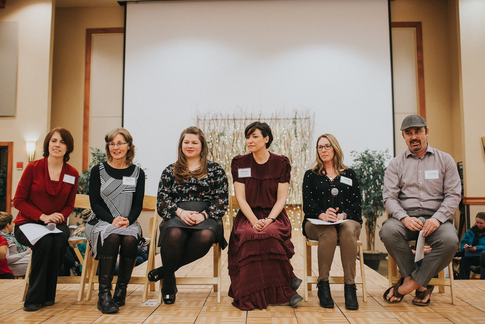 Here I am on the Bend Bridal Guide panel with other Central Oregon wedding vendors, from left, Stephanie from Ace of Hearts Films, Marlise from Studio Jay, Brittany from The Bridal Suite, me, Leann from Shine Events, and Courtney from Flip Flop Sounds.
