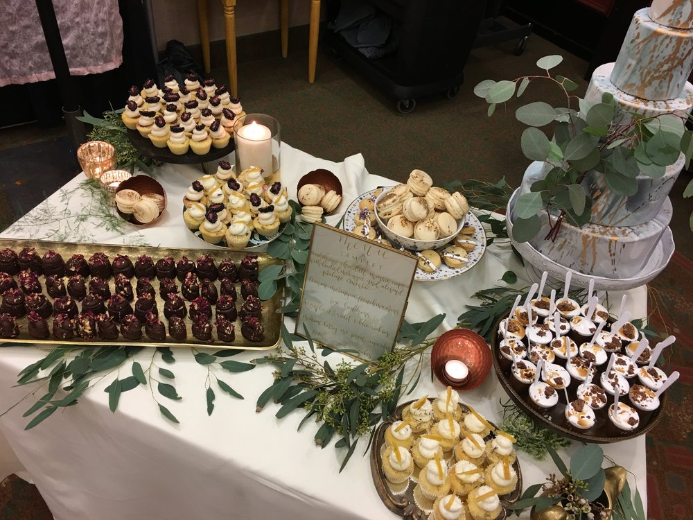 My photo of Foxtail's dessert table full of yummy samples.