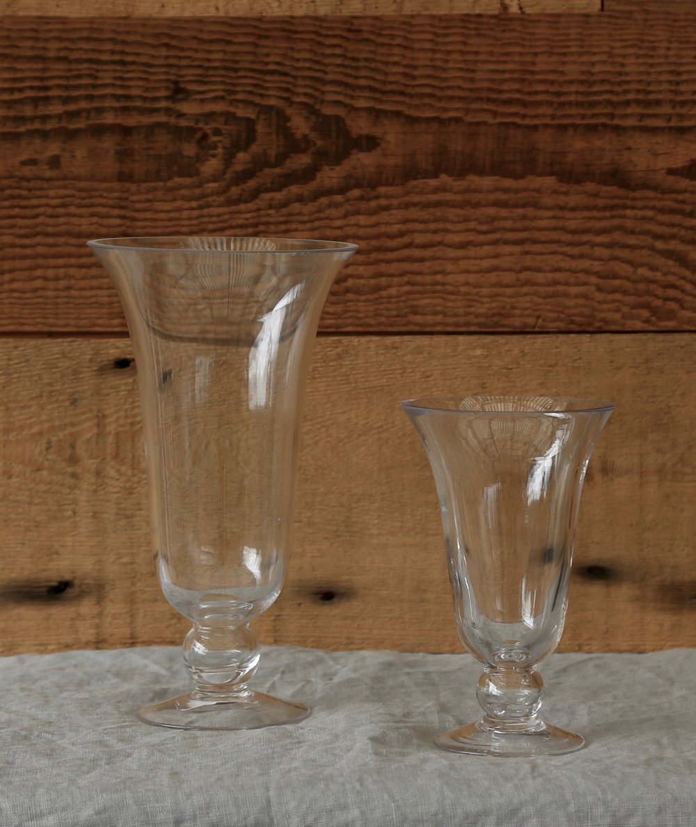 Clear Glass Fluted Vases