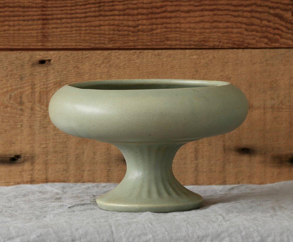 Vintage Sage Ceramic Compote