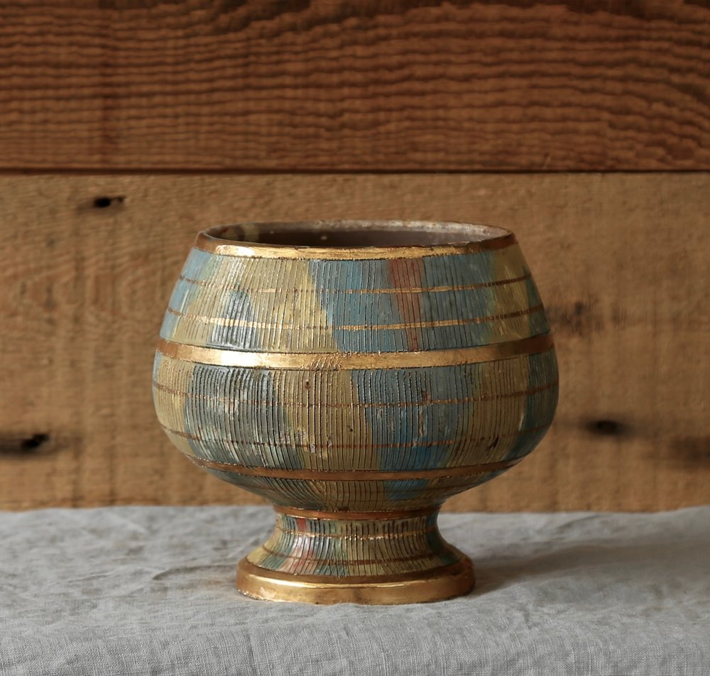Vintange Multi-Colored Gold Leaf Vase