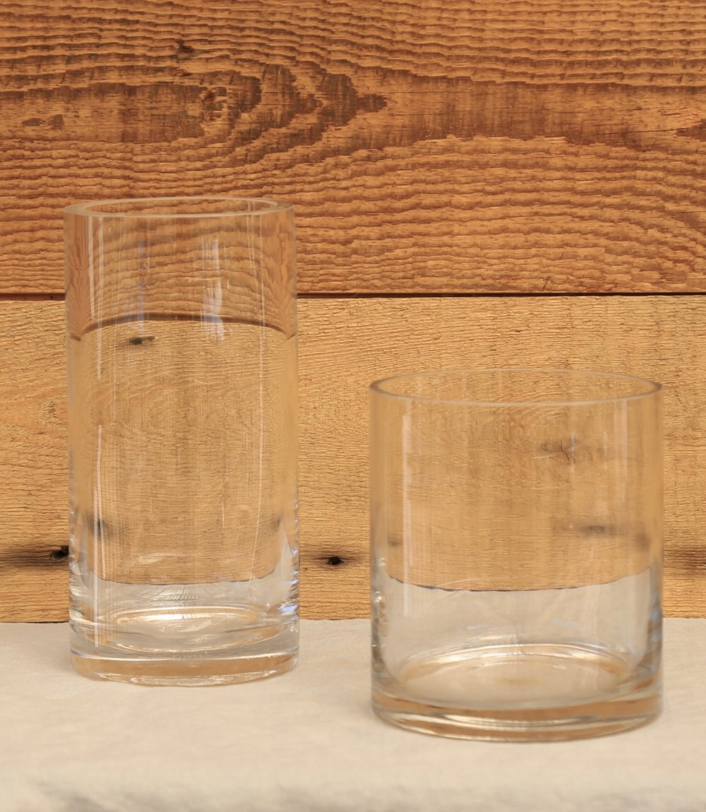 Clear Glass Heavy Base Vases