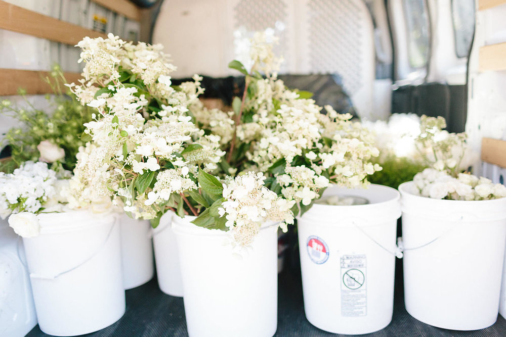One of our vans packed and ready to go with a whole bunch of gorgeous blooms for our installations.