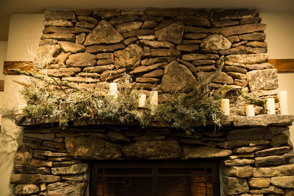 I had some extra material, so I put it to good use on the fireplace mantel behind where I did my demo.