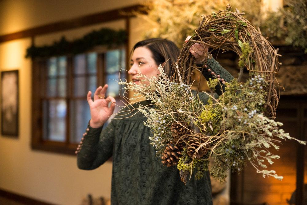 Summer Robbins Flowers Holiday Wreath Workshop FivePine Lodge Sisters Oregon-034.jpg