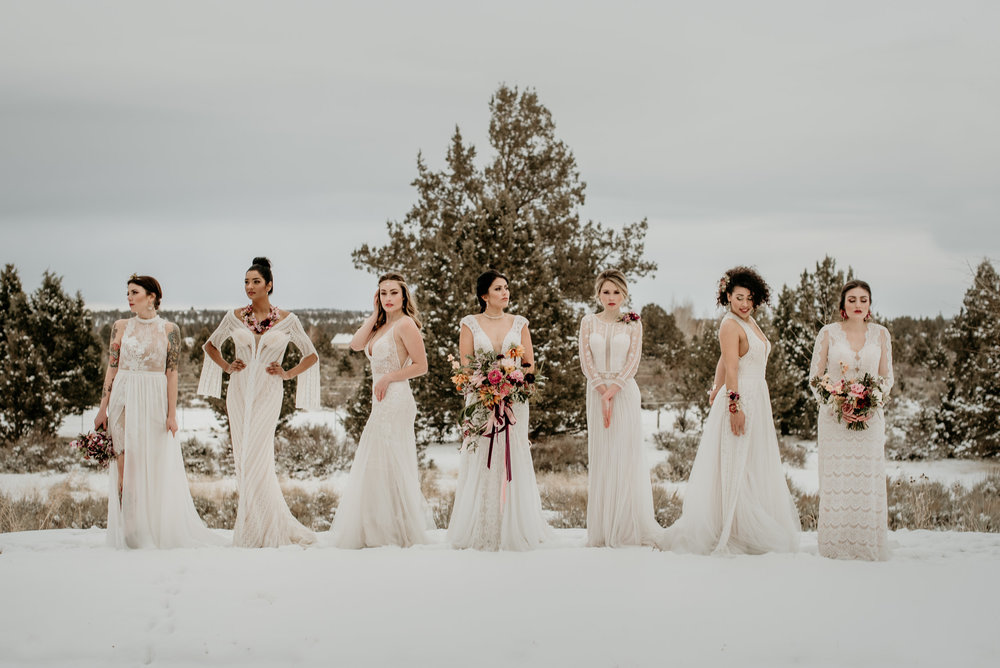 Dresses:  Bliss Northwest Bridal  Photography:  Benjamin Edwards   Florals: Summer Robbins Flowers Hair:  Kaila Lundstrom - Davines educator - hair stylist at Tangerine Hair Salon  Makeup:  Blush Artistries  Jewelry:  Justicia Artisan Jewelry  Rentals:  Curated Events Bend  Video:  Story Lab