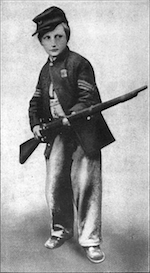"The ""Drummer Boy of Chickamauga"" with his sergeant's stripes and cut down musket."