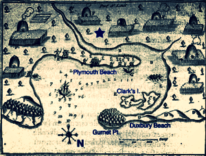 Samuel de Champlain 's 1605 map of Plymouth Harbor. The star marks the approximate location of the 1620 settlement