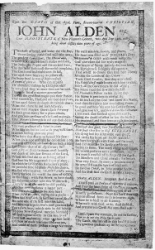 John Alden's 1687 obituary  published in a Broadside (precursor to newspapers)