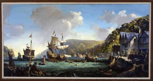Detail from Mayflower & Speedwell in Dartmouth Harbor by Wilcox