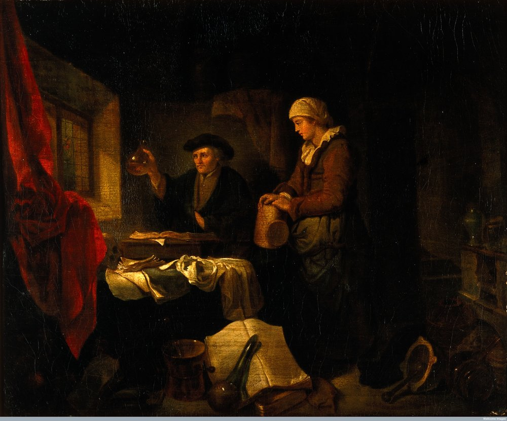 A physician examining a urine flask brought by a young woman. Oil painting, 19th century, after Hendrik Heerschop.jpg