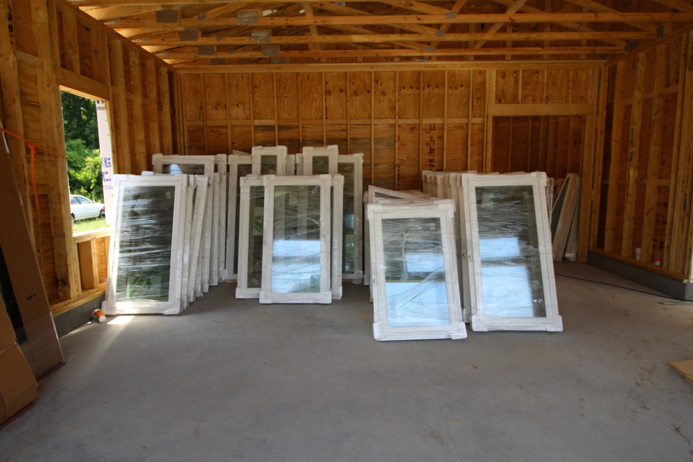 Lots of Casement windows ready for installation.