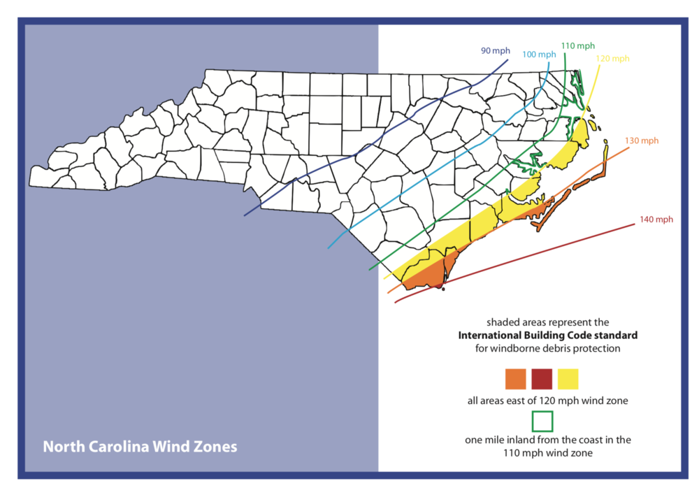 North Carolina wind zone map click to enlarge