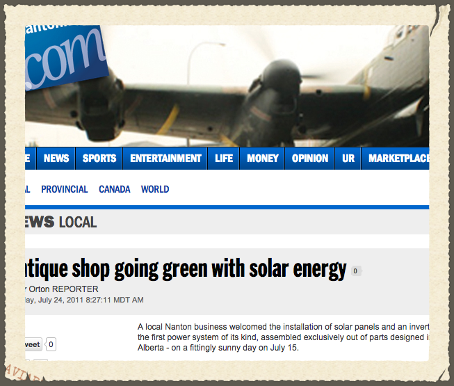 Antique Shop Going Green with Solar Energy - Nanton News