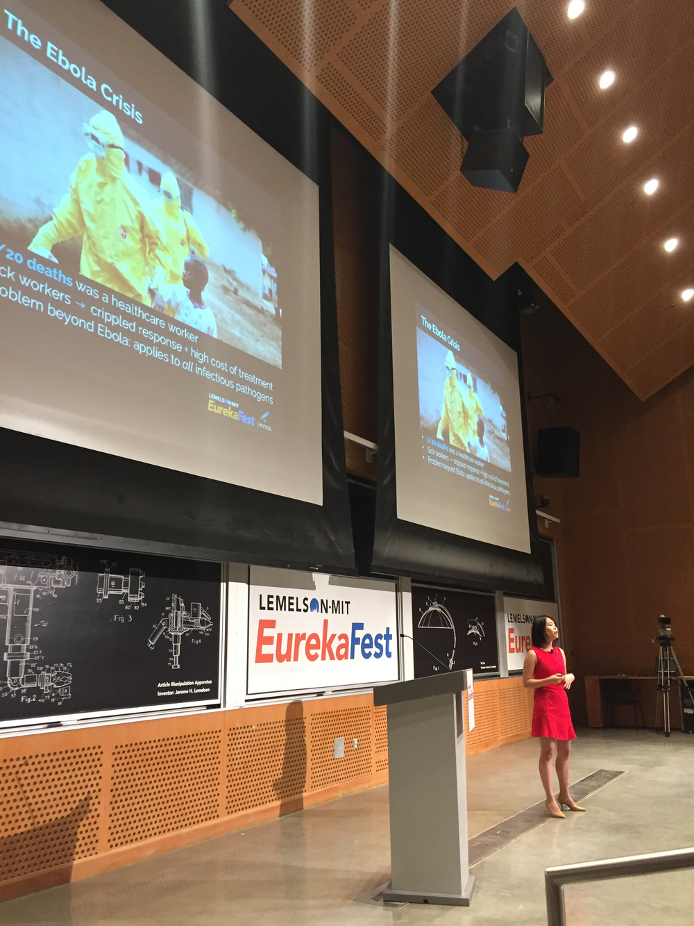 Katherine presenting at Lemelson-MIT EurekaFest in Boston, June 2016.