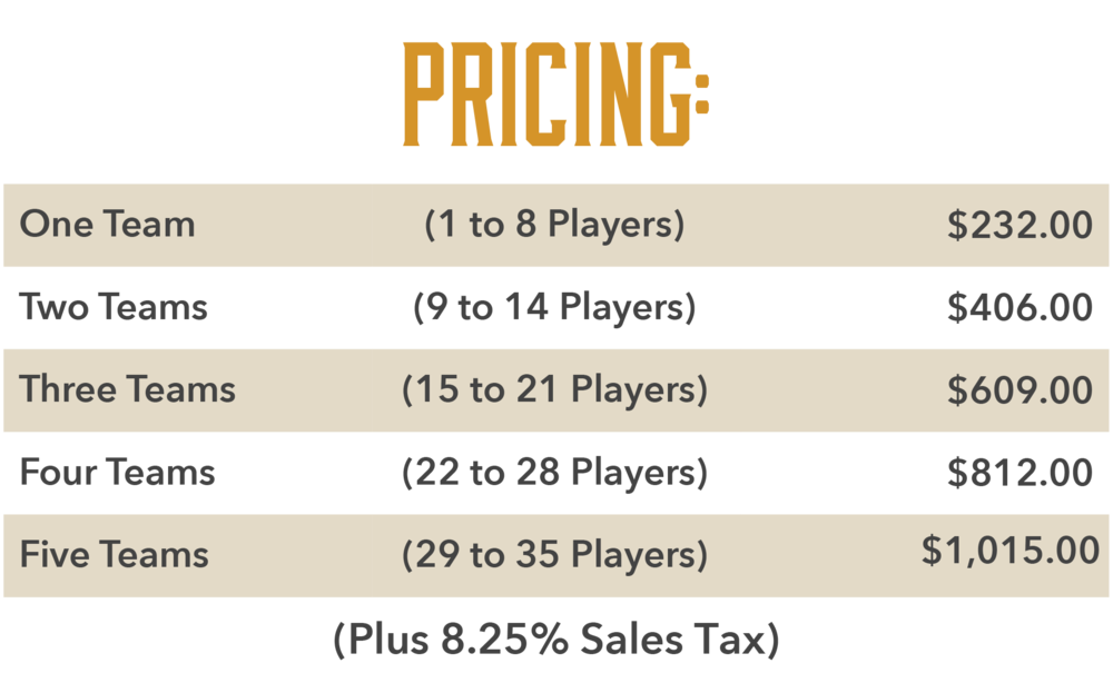 *These prices are for a one-hour experience, you may extend your game to two hours for half the rate of the first hour.