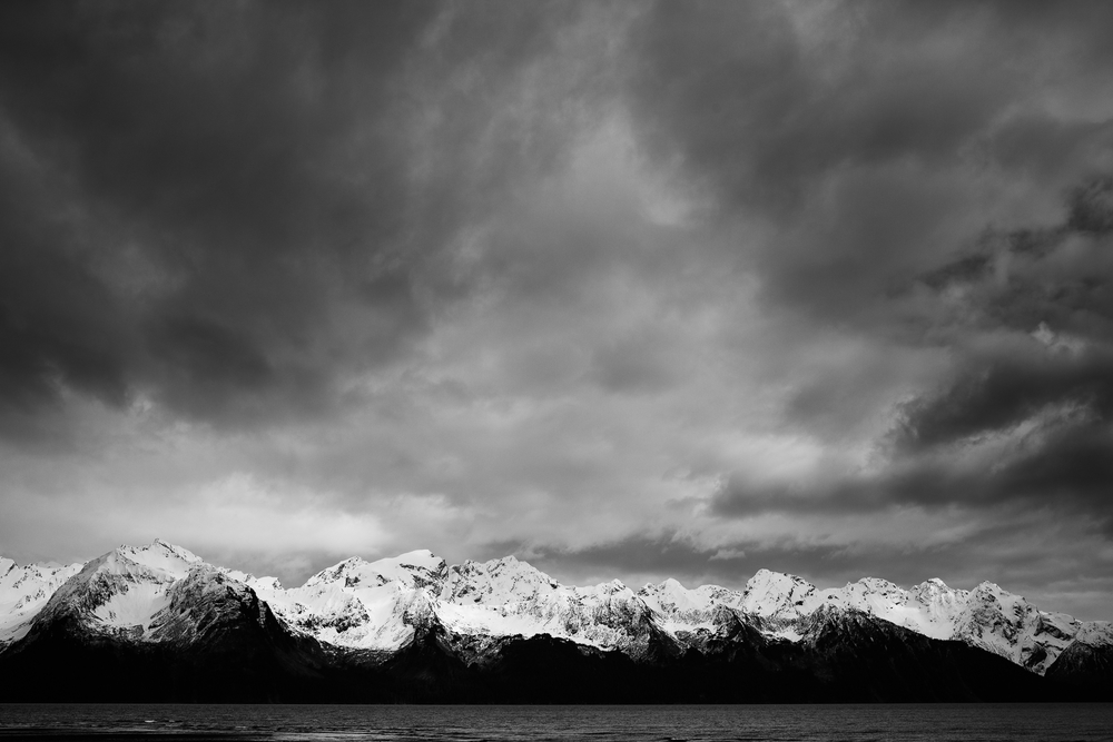 High contrast shot of the mountains across Resurrection Bay.