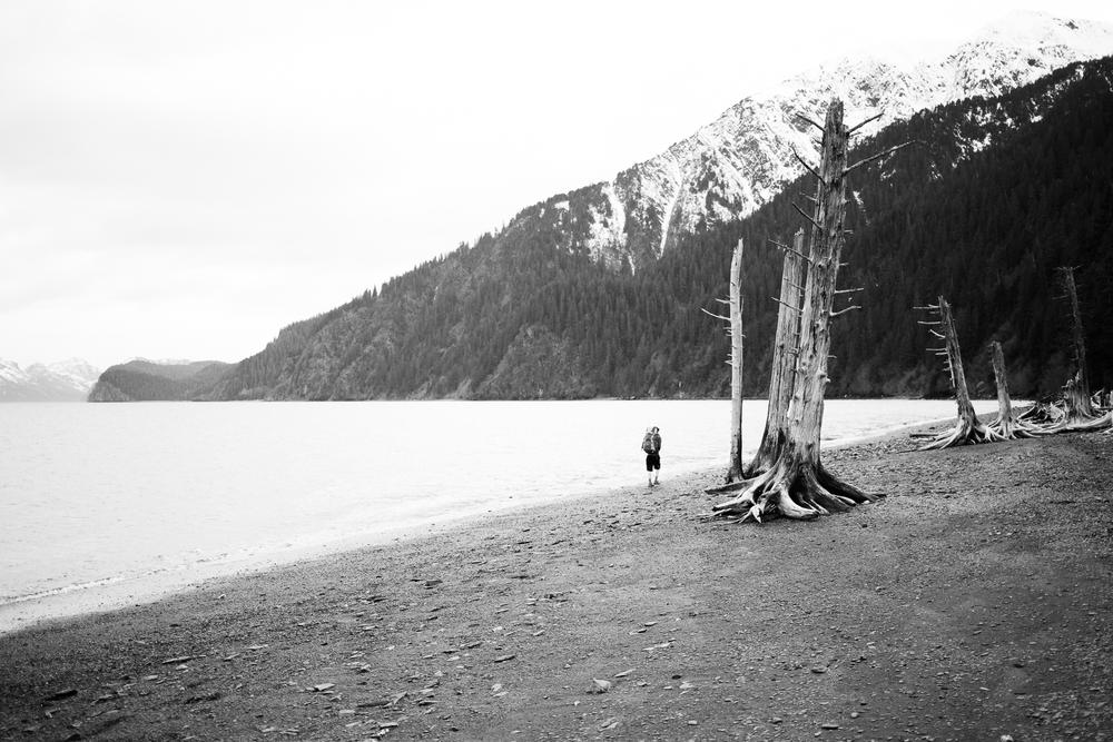 Hiking the beach.
