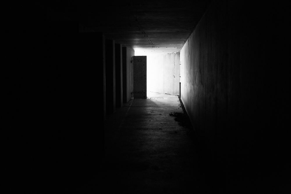Light at the end of the tunnel. Inside the main bunker at Fort McGilvray.