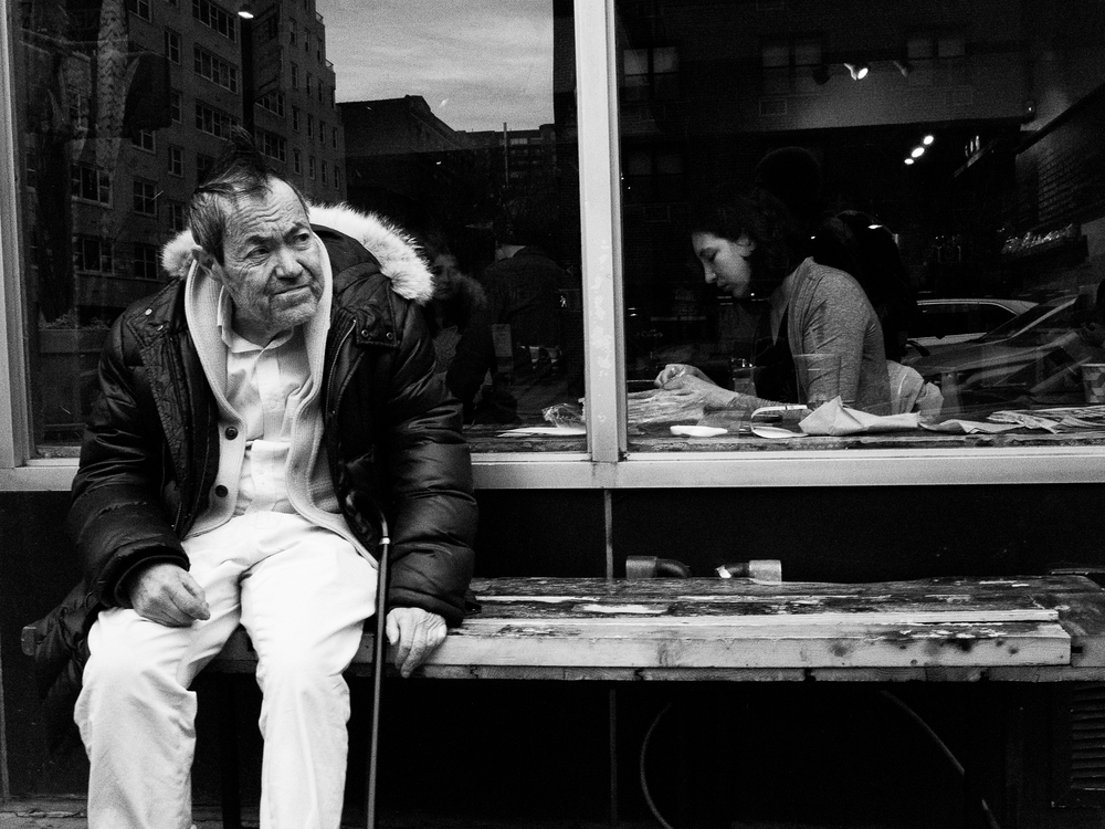 The man on the outside. Manhattan.