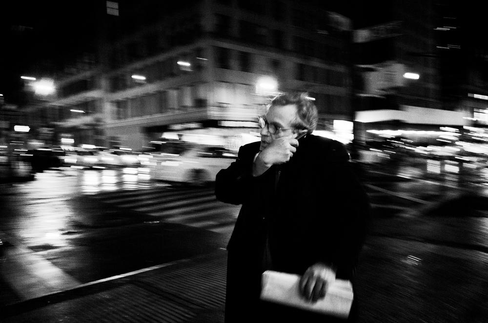 Man on the corner. Manhattan.