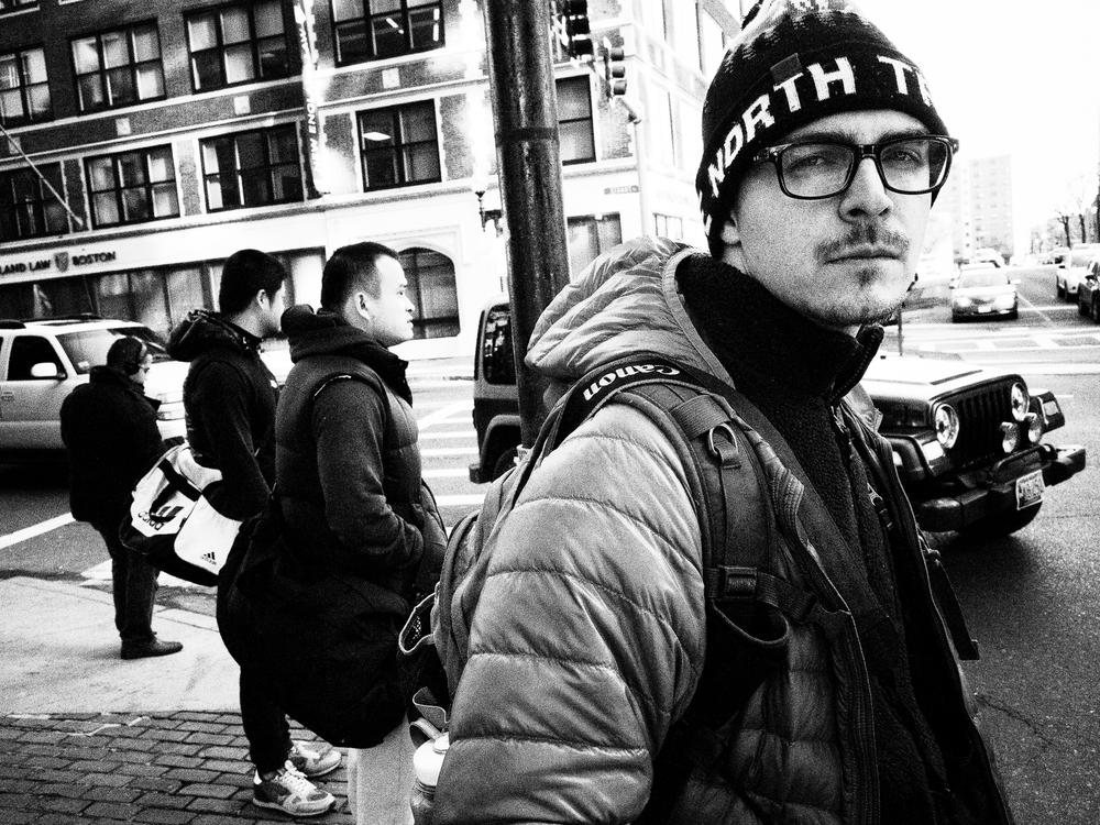 Wyatt on the corner. Boston.