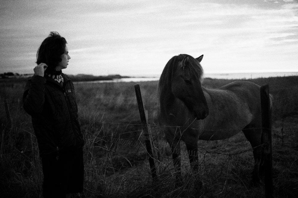 Rowan and a horse. Western Iceland.