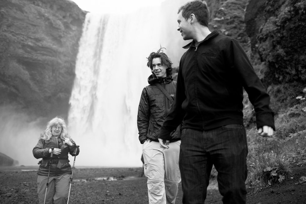The family at Skógafoss.