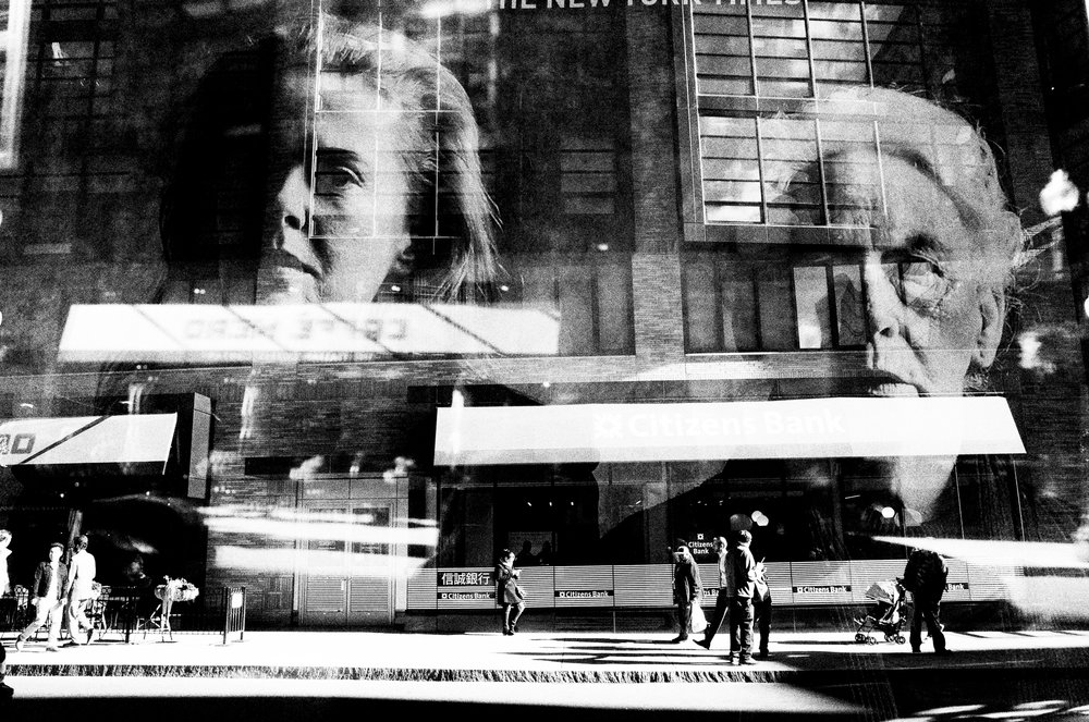 The watchers. Digital double exposure. Boston.