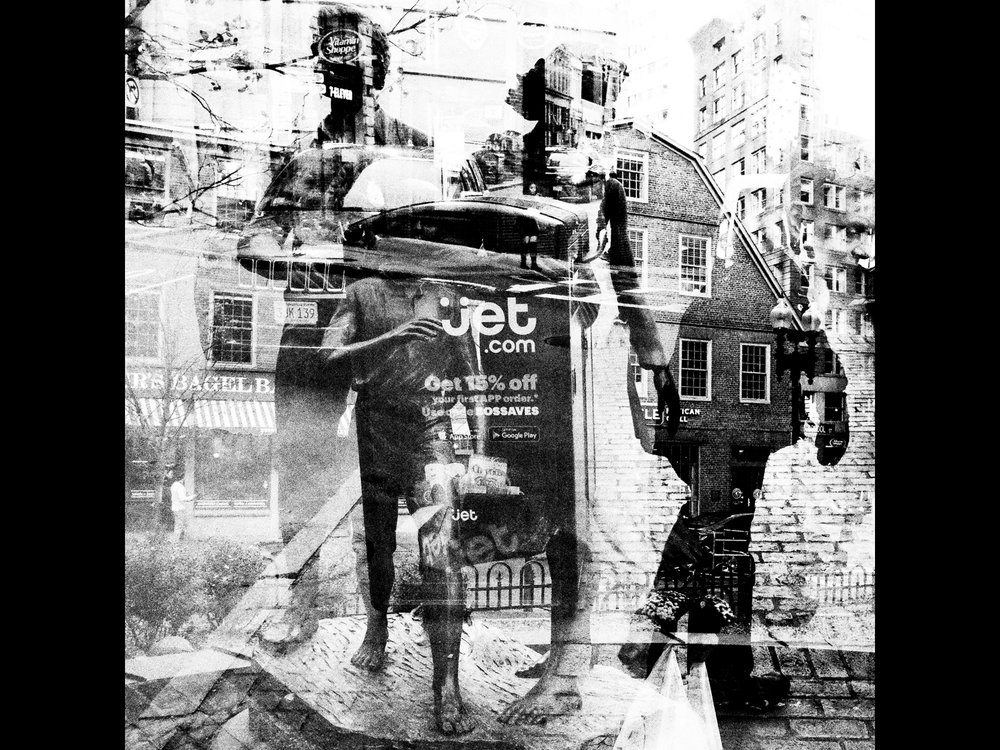 All American family. Digital double exposure. Boston.