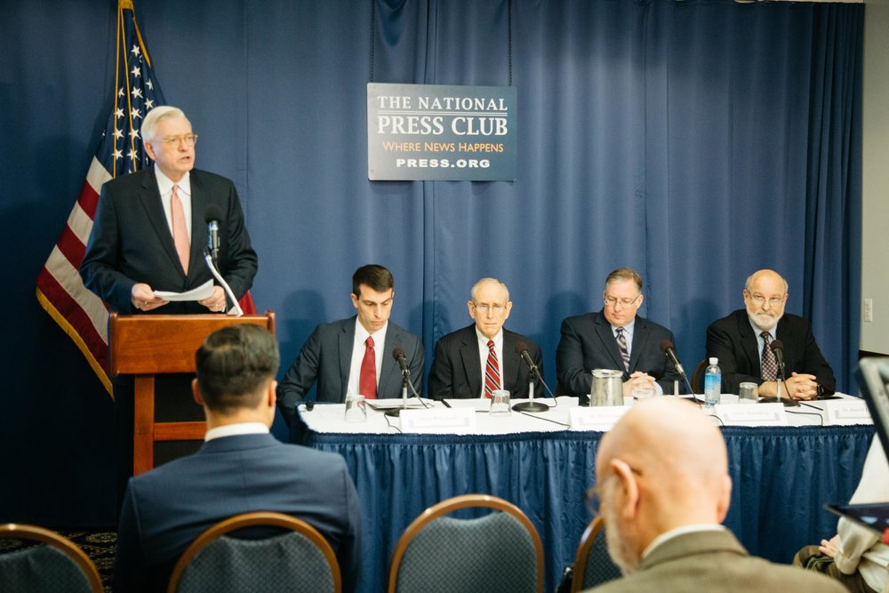 A. Larry Ross, president of A. Larry Ross Communications, opens a press conference on Dec. 4, 2018, at the National Press Club in Washington, D.C., to announce the findings of a new study conducted by LifeWay Research and sponsored by Chosen People Ministries and New York Times bestselling author Joel C. Rosenberg, that sheds light on Evangelicals' changing attitudes toward Israel and their effect on the Church's support of Israel. A panel of experts, including Scott McConnell, executive director of LifeWay Research, Dr. Mitch Glaser, president of Chosen People Ministries, Joel C. Rosenberg, bestselling author, and Dr. Darrell Bock of Dallas Theological Seminary, discuss the findings.