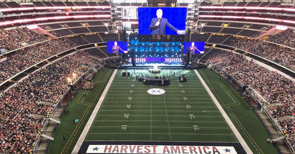 Greg Laurie speaks at Crossover Harvest America 2018 at AT&T Stadium on Sunday, June 10.