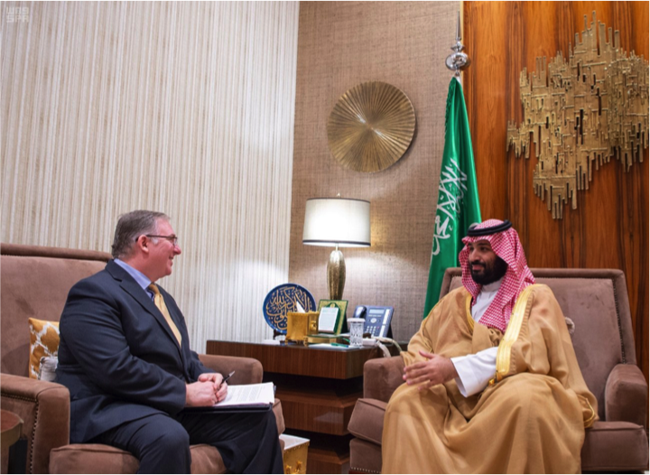 HRH Crown Prince Meets with Joel C. Rosenberg and a Delegation of American Evangelical Christian Leaders at The Royal Palace Friday (Photo Credit, SPA, 23-02-1440 AH).