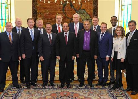 Egyptian President el-Sisi, (front center), receives a first-ever delegation of American Evangelical leaders in the Presidential Palace after a frank and transparent dialogue about challenges in the region and opportunities for cooperation.