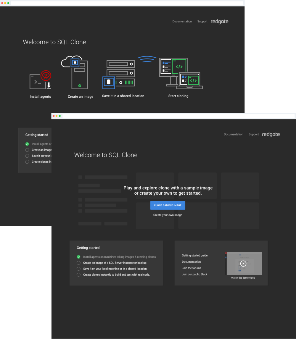 Two of a handful of launch screens we tested for new SQL Clone users. Click the image to walk through an invision prototype.