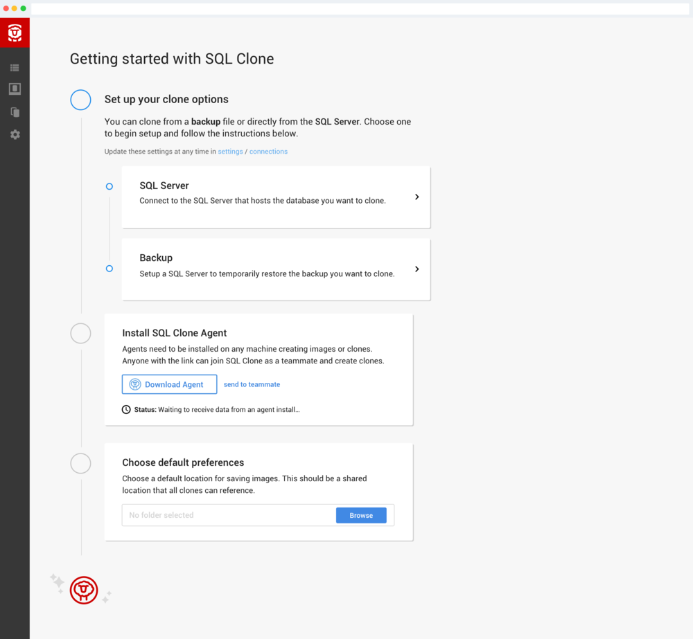 UI for setting up the user's environment to create clones