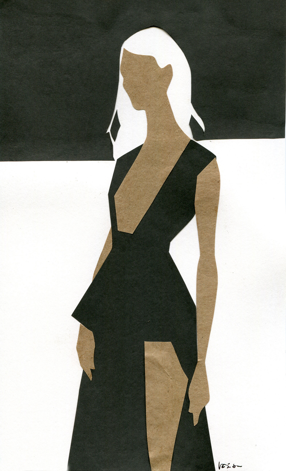 Black and white watercolor paper cutout