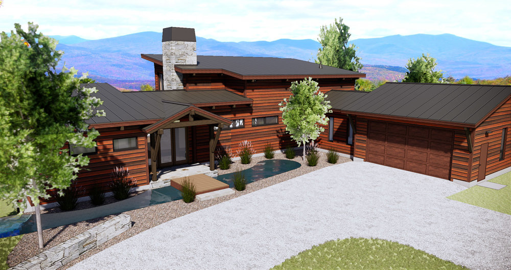 This SDA-designed modern, timber-frame mountain home is currently under construction and features red cedar bevel siding, natural stone, and standing seam metal roofing. The home is carefully sited and designed with a strong connection to the natural world and exceptional views of the White Mountains.