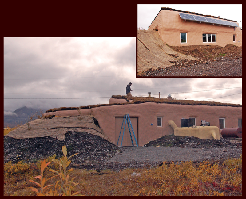 A prototype home in Anaktuvuk Pass, Alaska, was modeled on traditional sod homes, and features an earthen roof, a passive ventilation system, solar panels, and an unheated cold room for storing wild foods. Photo from Environmental Health Perspectives.