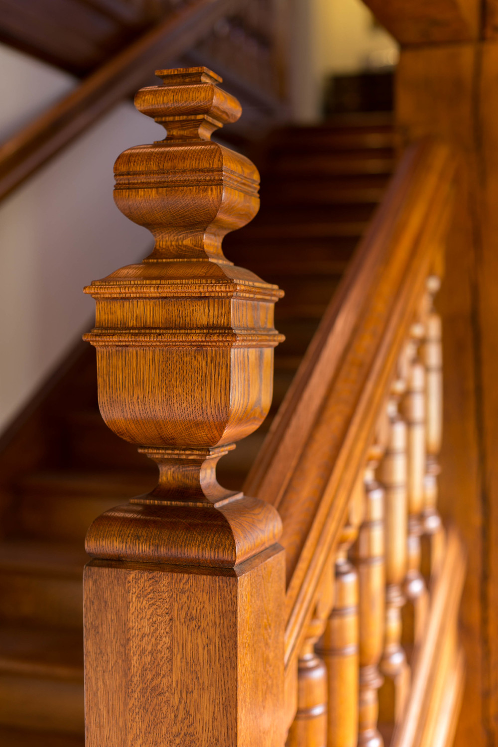"Reproduction of a ""s quare sawn"" newel post circa 1897"