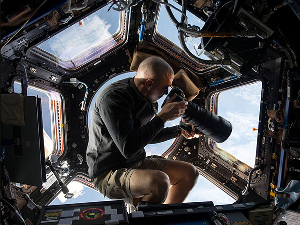 We used footage shot from this cupola onboard the International Space Station during 2015.